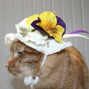 HAND CRAFTED Crochet Pansy Bonnet Dog Cat Hat